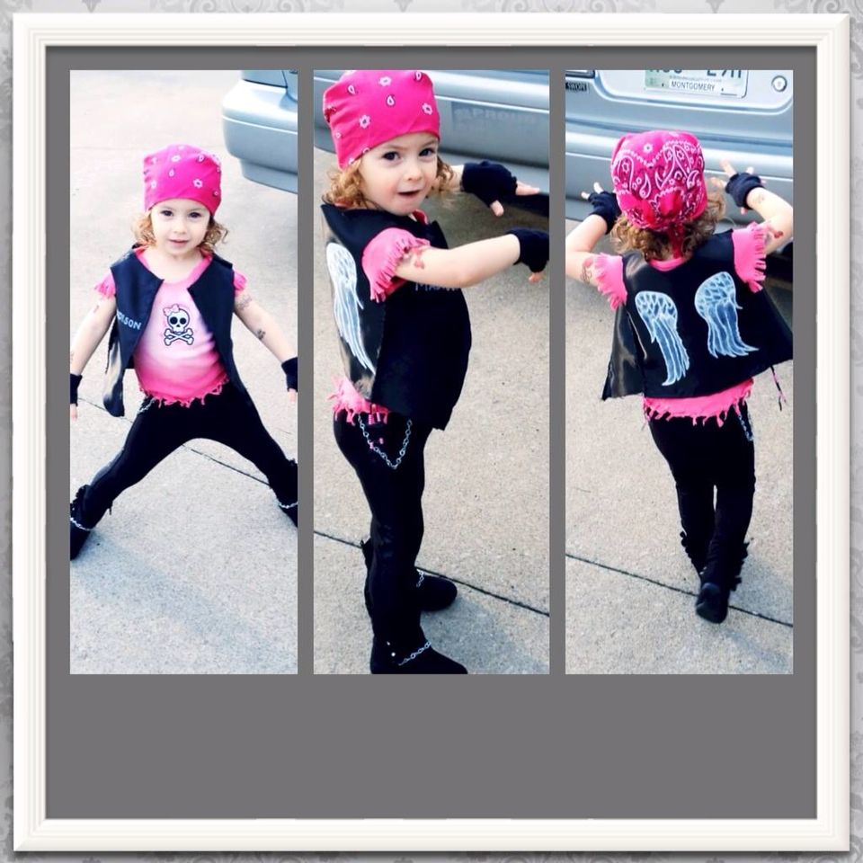 biker babe costume, toddler, diy, original, cute, halloween.   kid