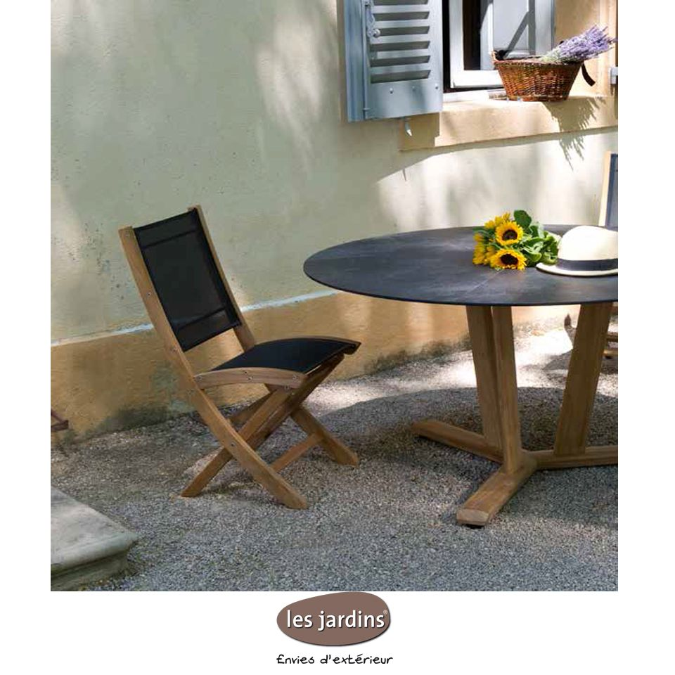 Collection tekura table ronde en teck avec plateau plein en hpl ardoise chaise pliante teck - Table de jardin ronde robin naterial ...