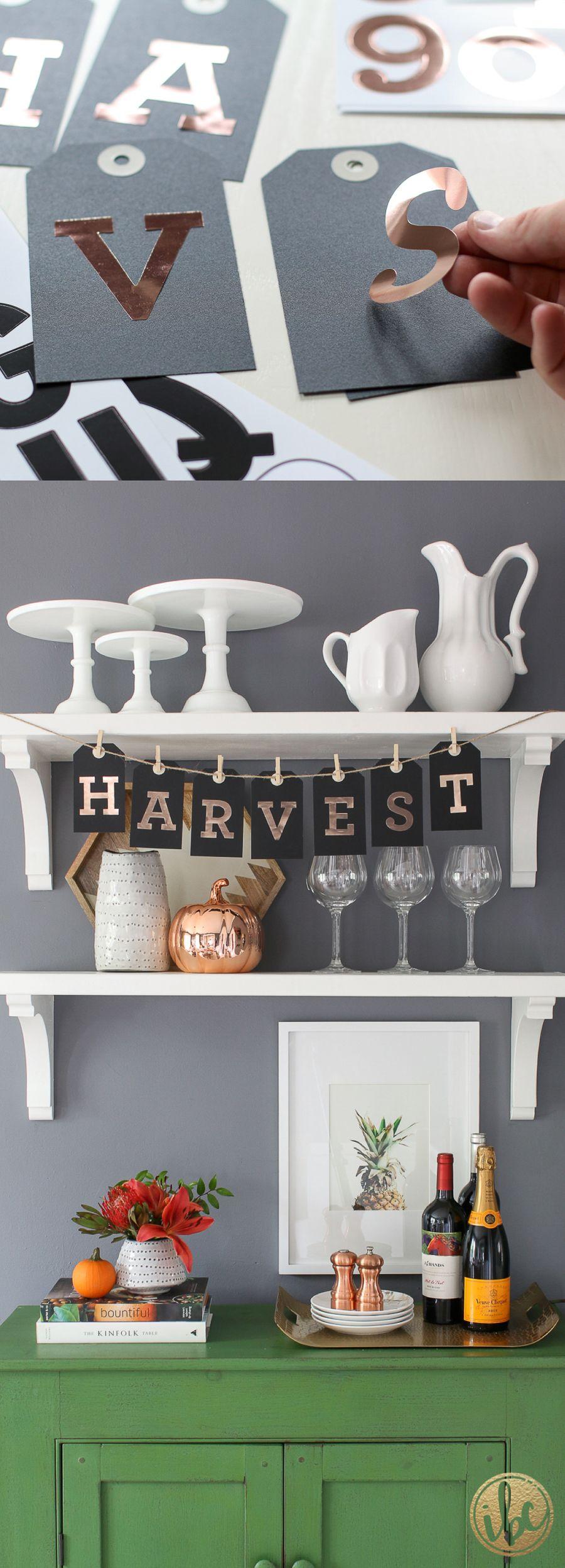 DIY Harvest Banner - fall decorating ideas / DIY Tag Banner