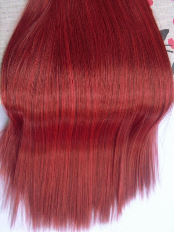 Doll Hair-Ruby Red-Black Varieg. Extralong by Treasuresdolls