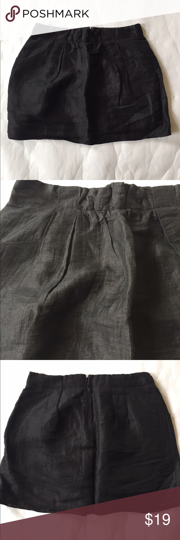 J. Crew Linen Mini Skirt {with pockets} Fun indigo blue Linen mini skirt from J. Crew. Excellent used condition. Has pockets on either side and a back zipper. J. Crew Skirts Mini