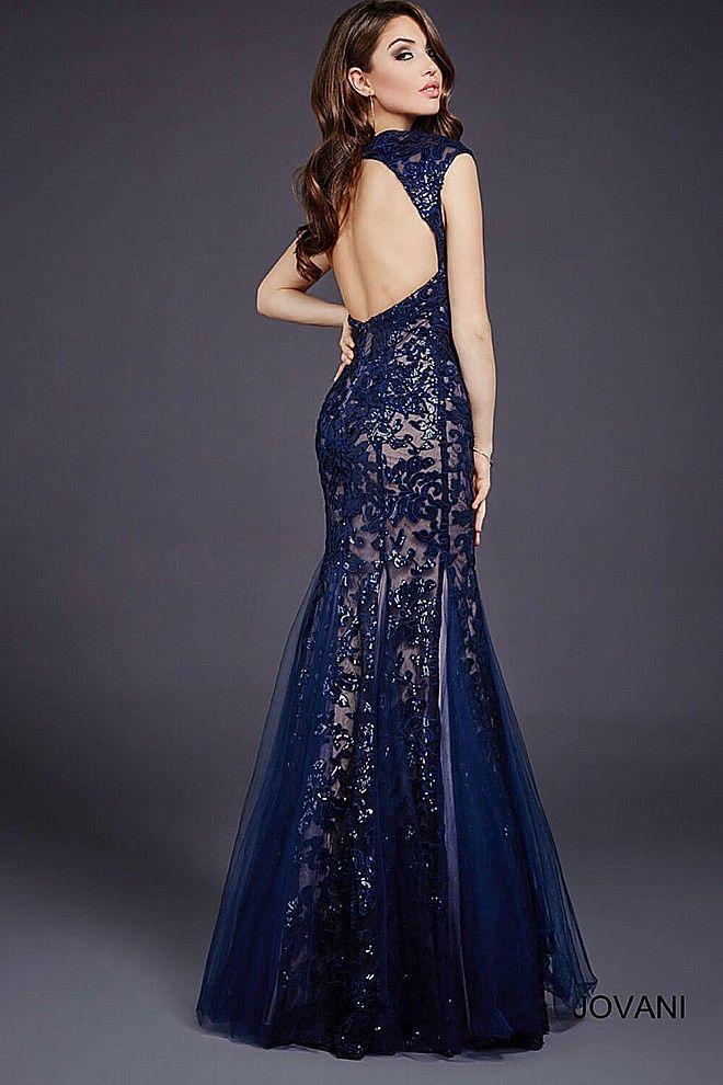 Navy Open Back Mermaid Dress 33539 | Vestidos | Pinterest | Vestidos ...