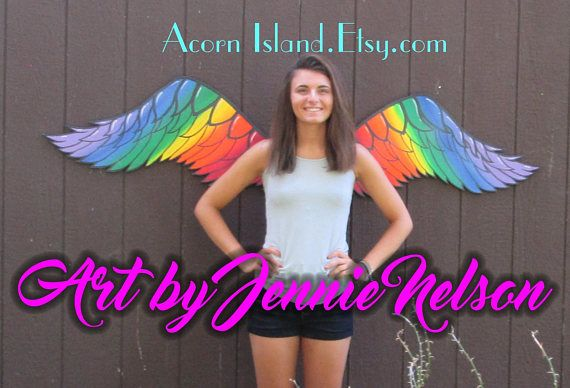 Hey, I found this really awesome Etsy listing at https://www.etsy.com/listing/539105924/large-wood-angel-wings-rainbow-colorful