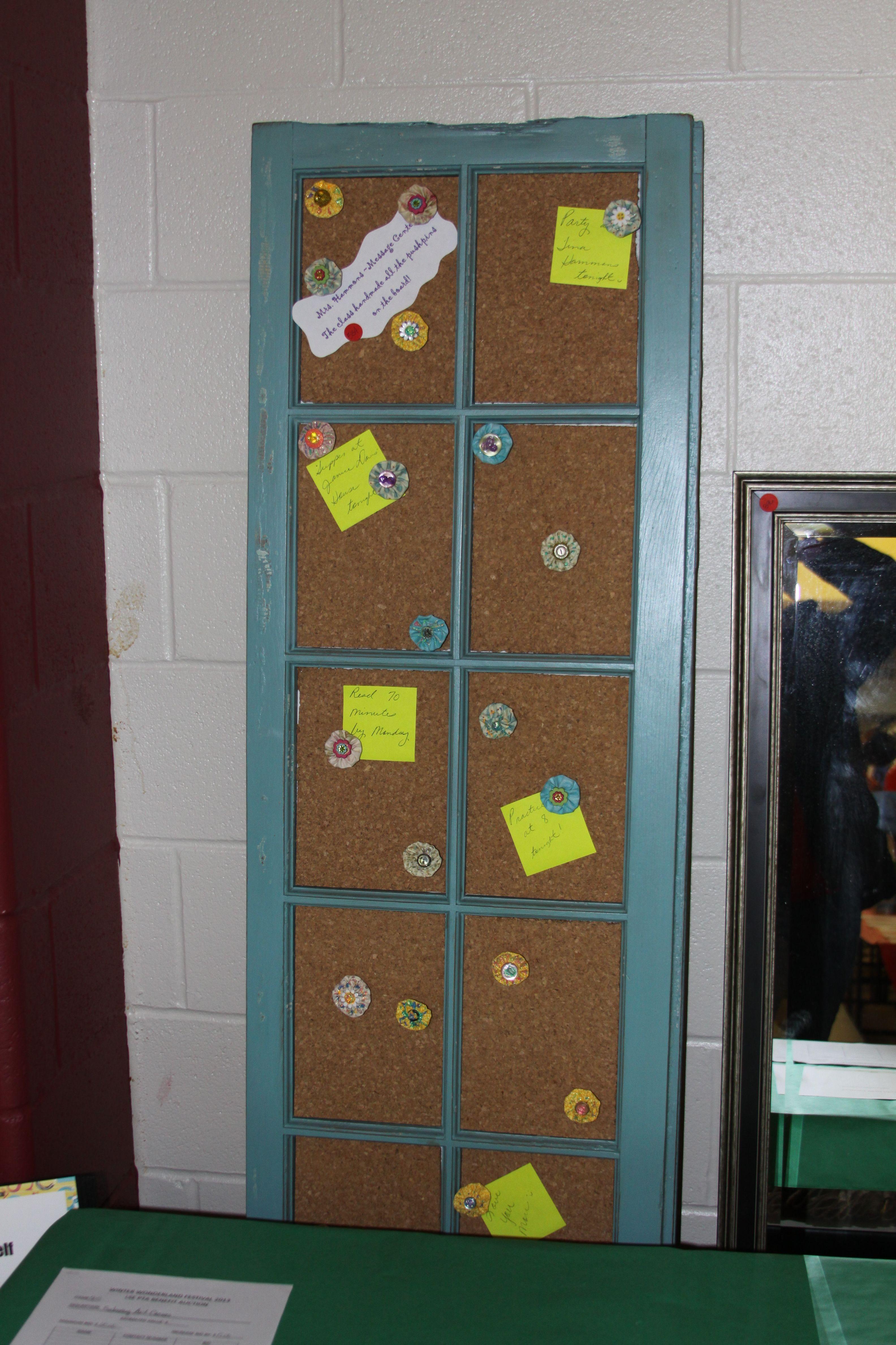 Widow turned cork board, kids made pins