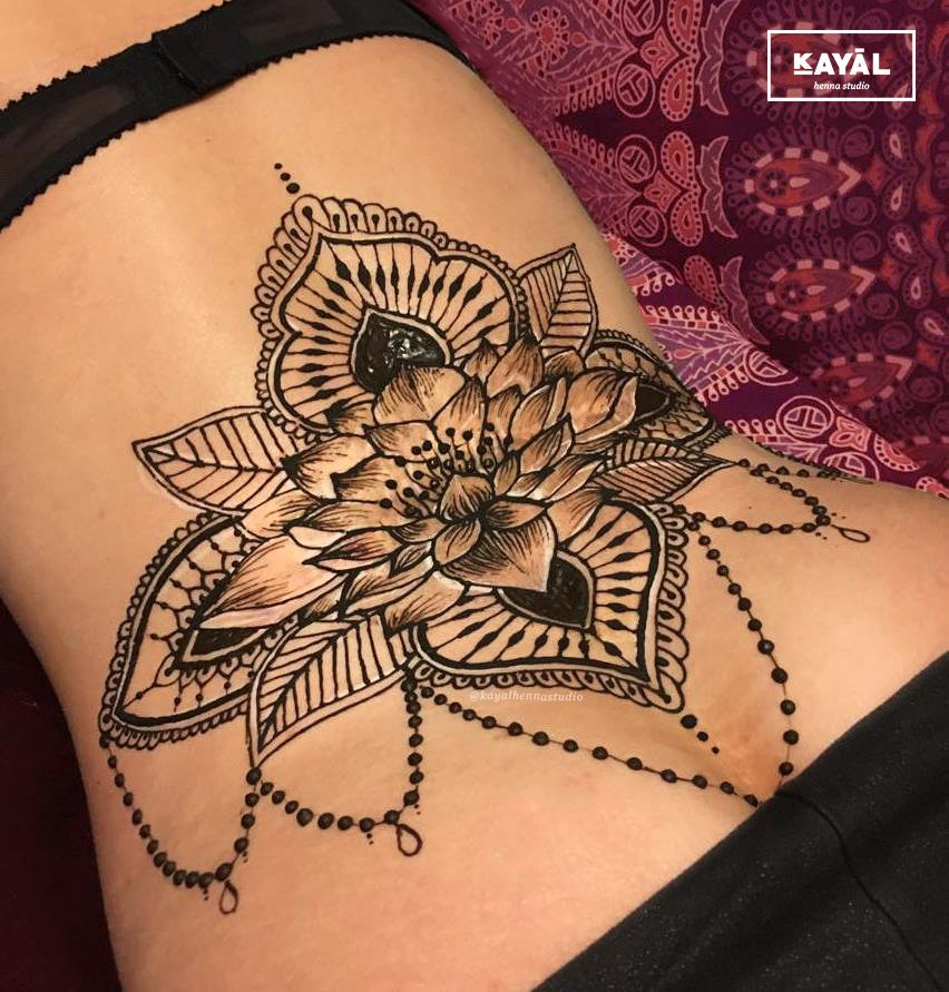 Water Lily Henna Tattoo On The Lower Back By Ḵayāl Henna
