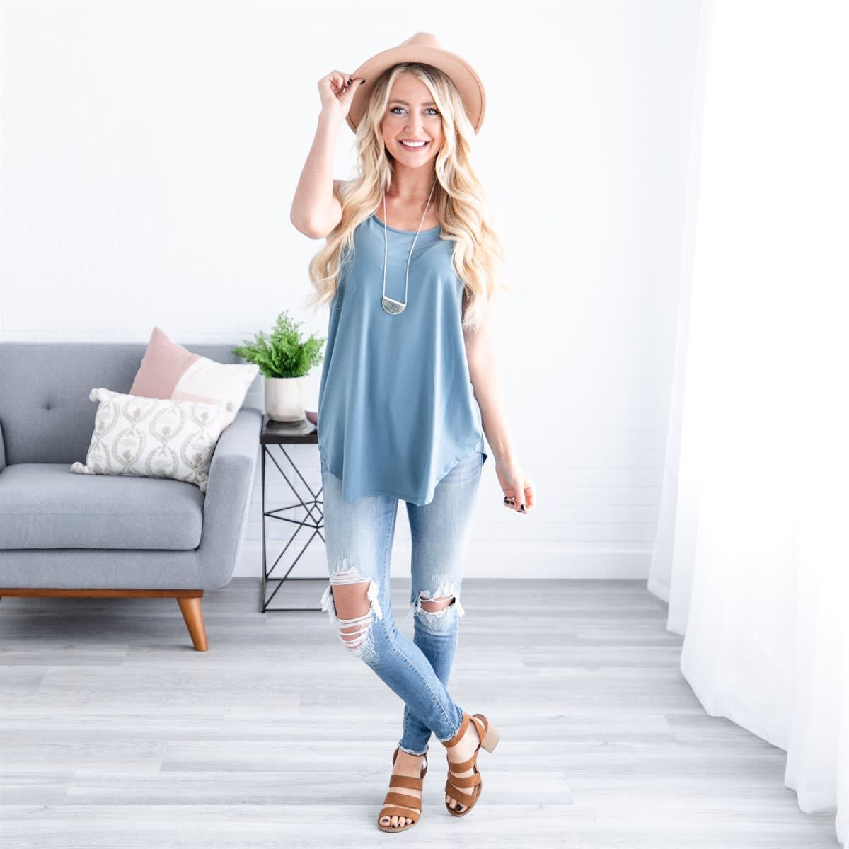 99cb52f603e38e Rounded Hem Essential Tank | S-3XL in 2019 | Top It Off | Outfits ...