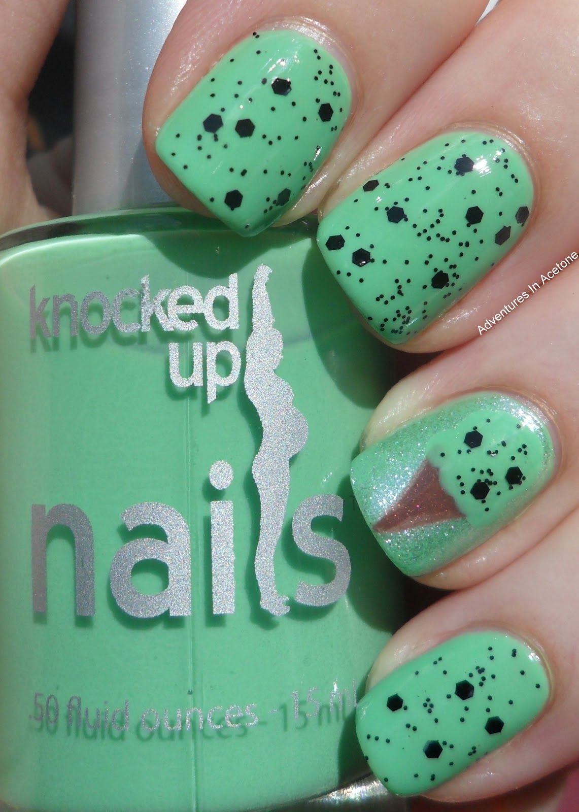 Adventures In Acetone: Knocked Up Nails: Mint Chip At Midnight ...