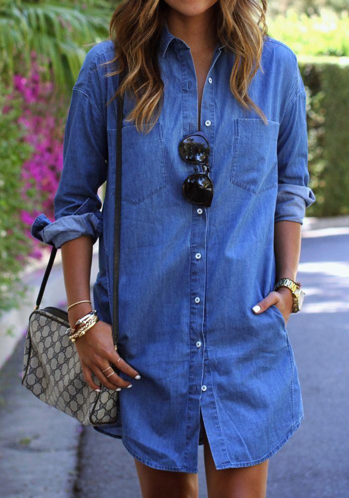 denim shirt dress #sincerelyjules   Long denim shirt, Fashion, Clothes