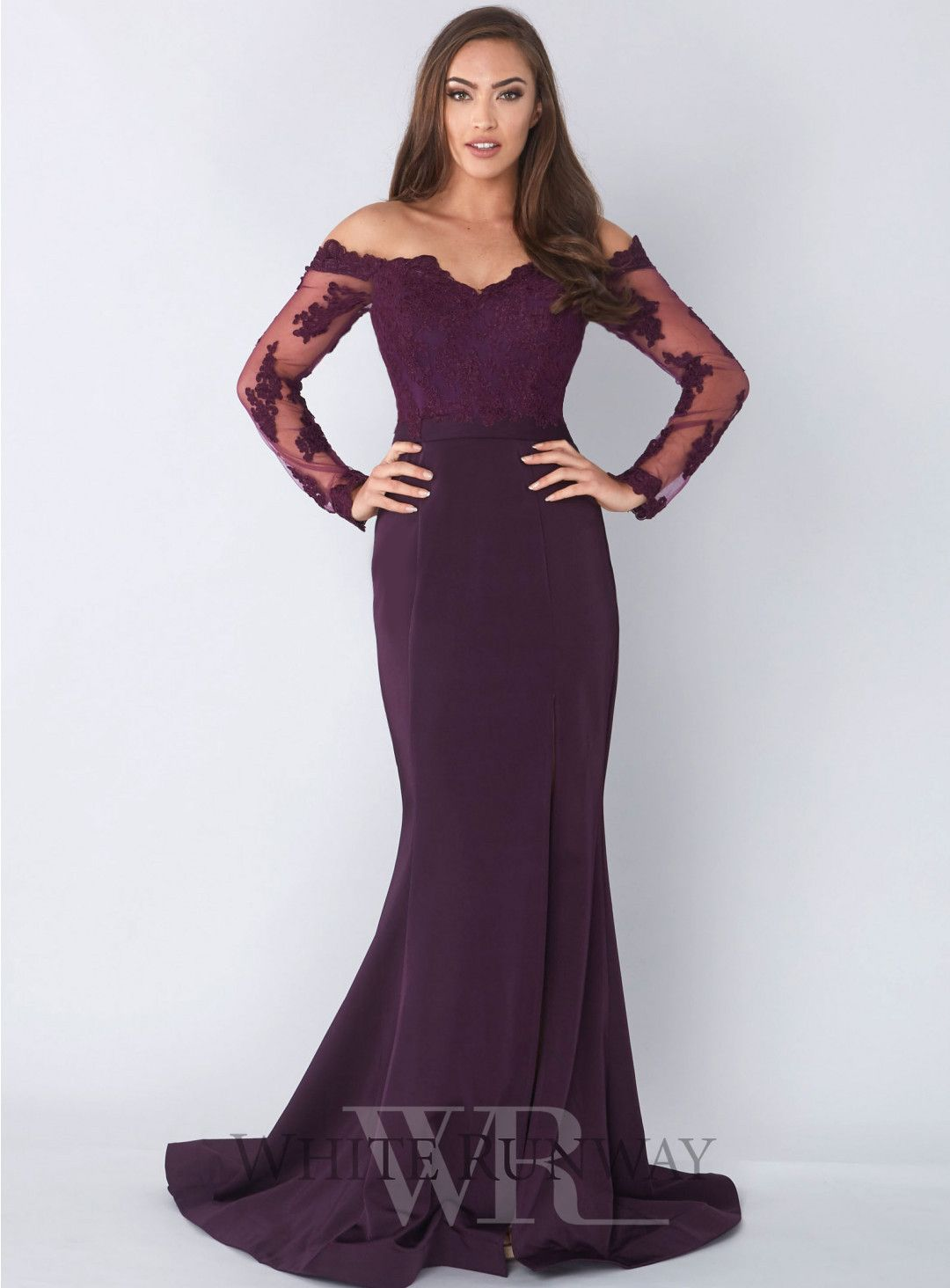 7b237c771c99 Rosella Gown. A beautiful full length dress by Jadore. An off shoulder  style featuring a lace bodice and sleeves. Available in Red