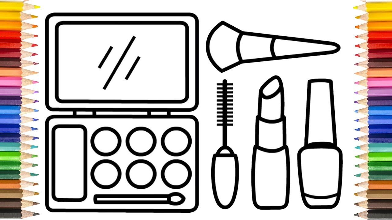 Glitter Makeup Tool Drawing And Coloring Pages For Kids 3