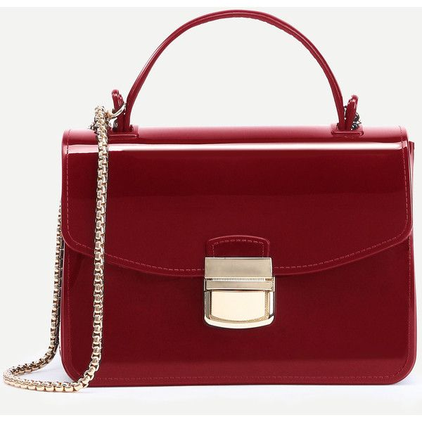 Red Pushlock Closure Plastic Handbag With Chain 6 83 Liked On Polyvore Featuring