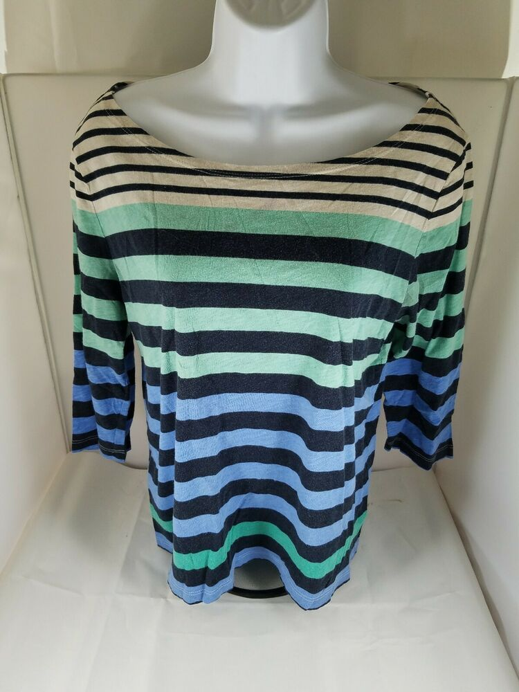 6c30262a24d3 Womens JC Penney Blue Green White Stripes 3/4 Sleeve 100% Cotton Large  #JCPenney #Blouse #Casual