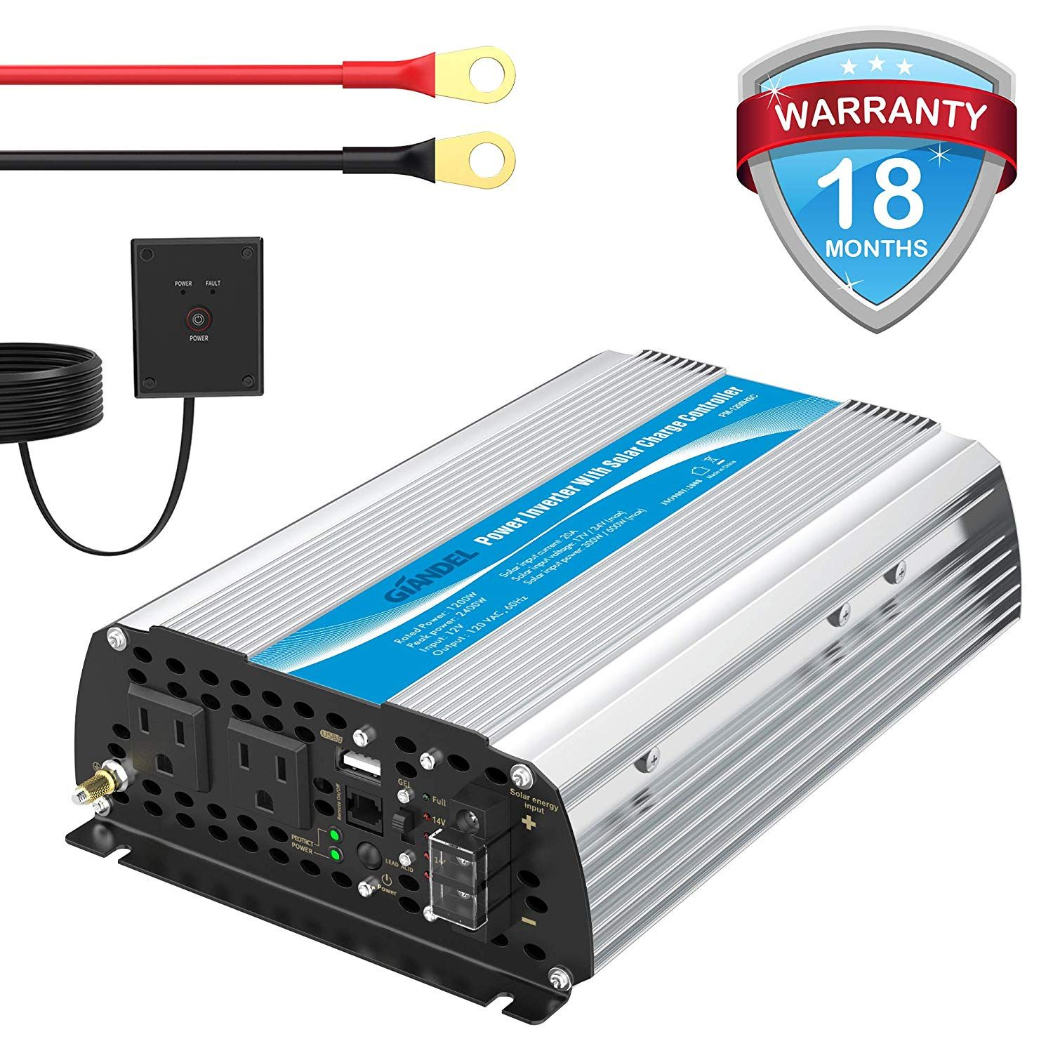 1200w Power Inverter Dc12 Volt To Ac 120 Volt With 20a Solar Charge Controller And Remote Control And Usb Por Solar Power Inverter Power Inverters Solar System