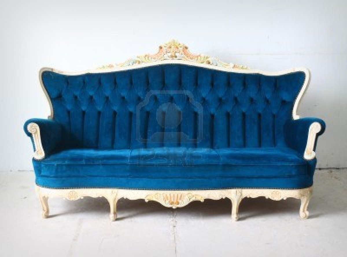 another white frame with blue velvet victorian sofa Home