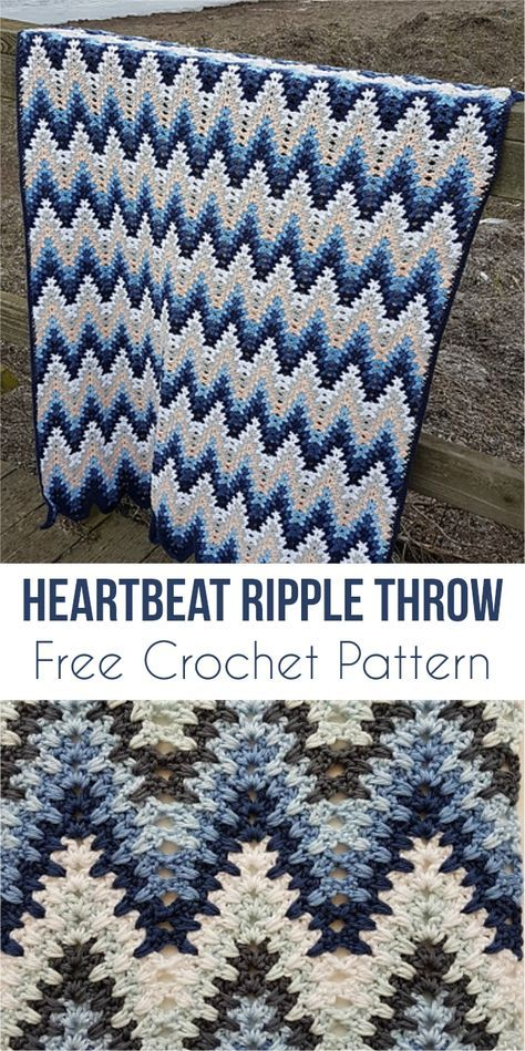 Heartbeat Ripple Throw - Free Crochet Pattern | Stricken und häkeln ...