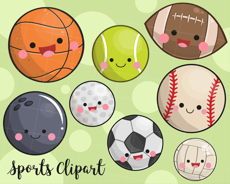 Kawaii sports clipart baseball clipart football