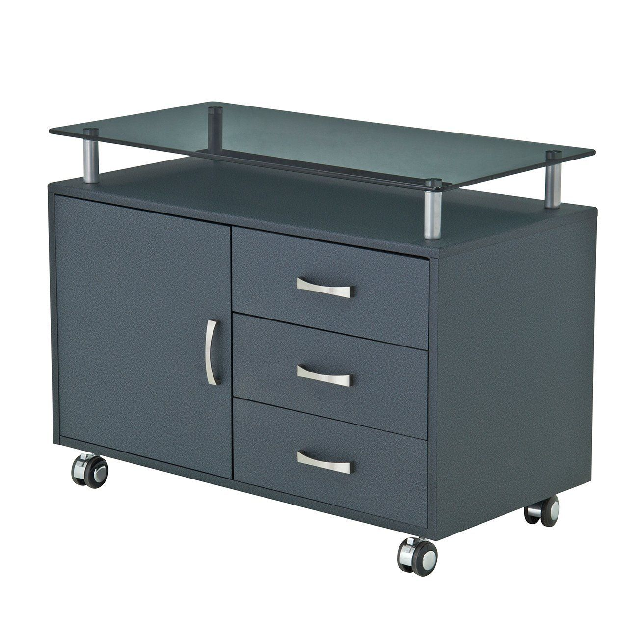 Rolling Storage Cabinet With Frosted Gl Top Color Graphite Kitchen Dining