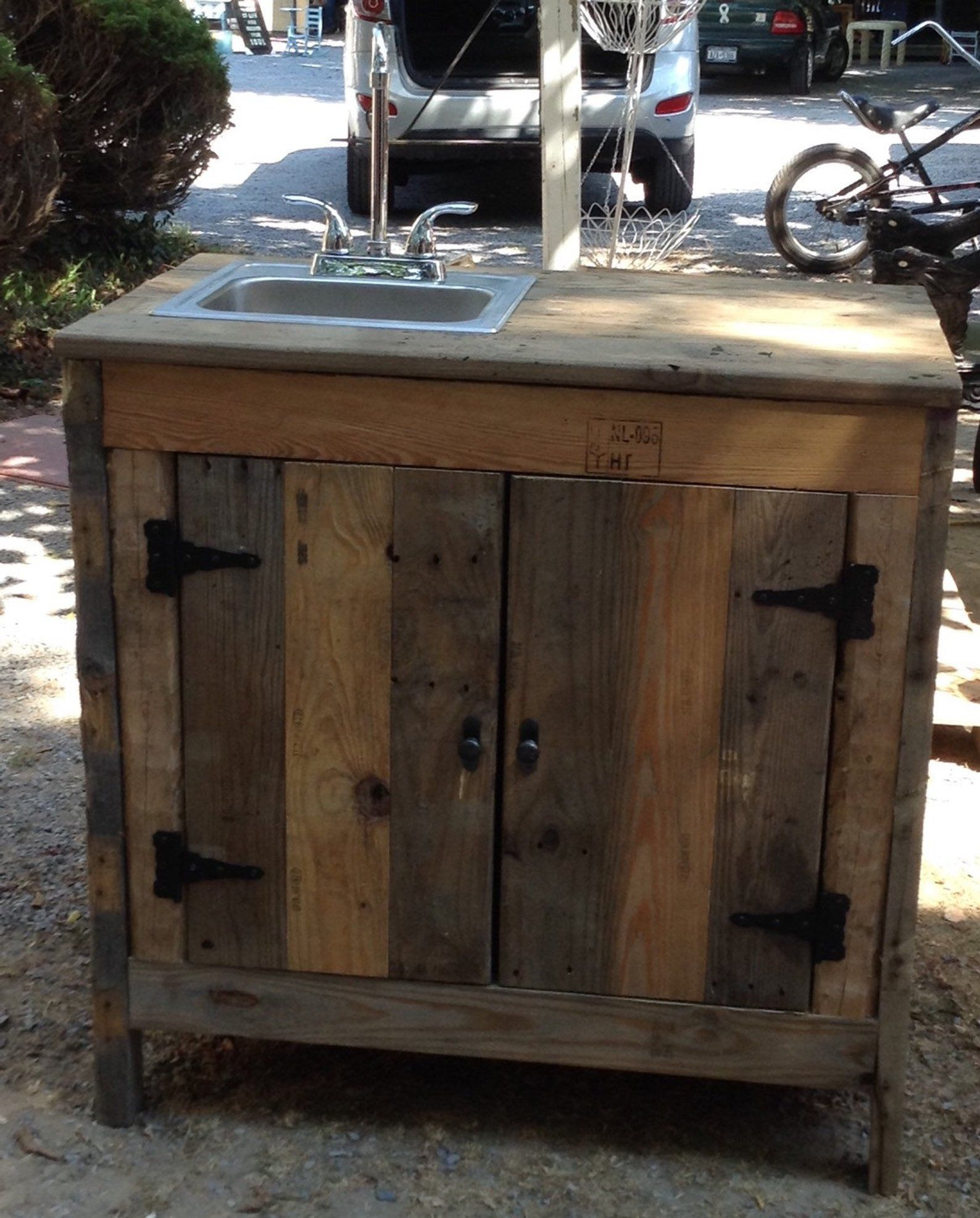 Sink Cabinet For Outdoor Entertainment Area Kitchen Or Bathroom Made With Reclaimed Wood Outdoor Entertaining Area Entertaining Area Outdoor Sinks