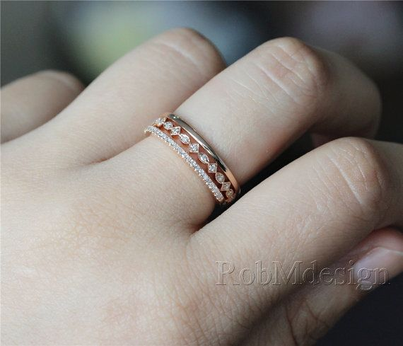 14k rose gold 3pcs wedding ring set art deco style ring full eternity milgrain wedding band - How To Wear A Wedding Ring Set