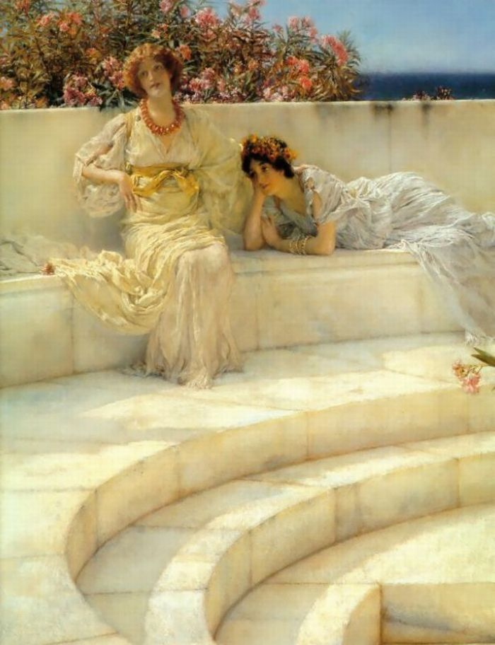 Sir Lawrence Alma-Tadema, Under The Roof Of Blue Ionian Weather. 1901 (detail)
