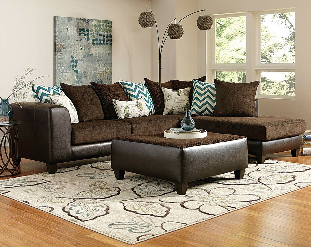 Brown Wrap Around Couch Reggae Vibes Two Piece Sectional