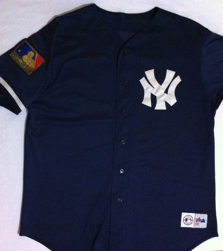 Details About Ny Yankees 125th Anniversary Blue Baseball Jersey Majestic Sewn Shirt 48in Chest Shirts Ny Yankees Baseball Jerseys