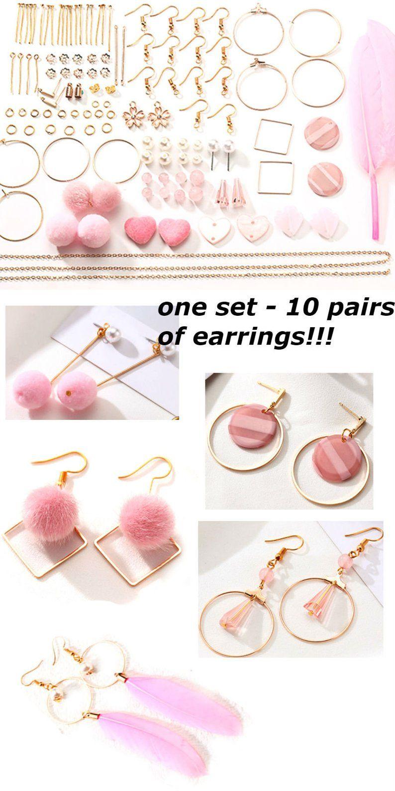 Photo of Earrings Making Kit Pink Jewellery Components Minimalist geometric Blanks Bar craft earring DIY jewelry making, 1 Kit 10 pair earring