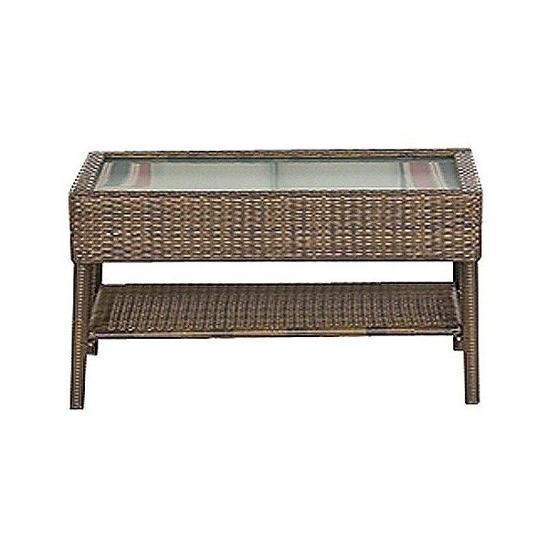 Rolston Wicker Patio Coffee Table 104 Liked On Polyvore Featuring Home Outdoors
