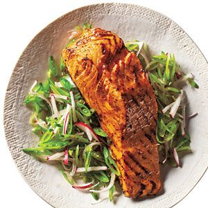 Salmon is low in calories and rich in healthy fats, and goes beautifully with a sweet, salty, spicy glaze and this ingenious summery slaw. View Recipe: Barbecue Salmon and Snap Pea Slaw