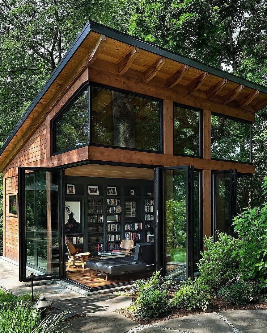 Homes Mansions Houses On Instagram How Cool Is This Studio The Writer S Refuge Is A Modern Stu Tiny House Cabin Tiny House Design Architecture House