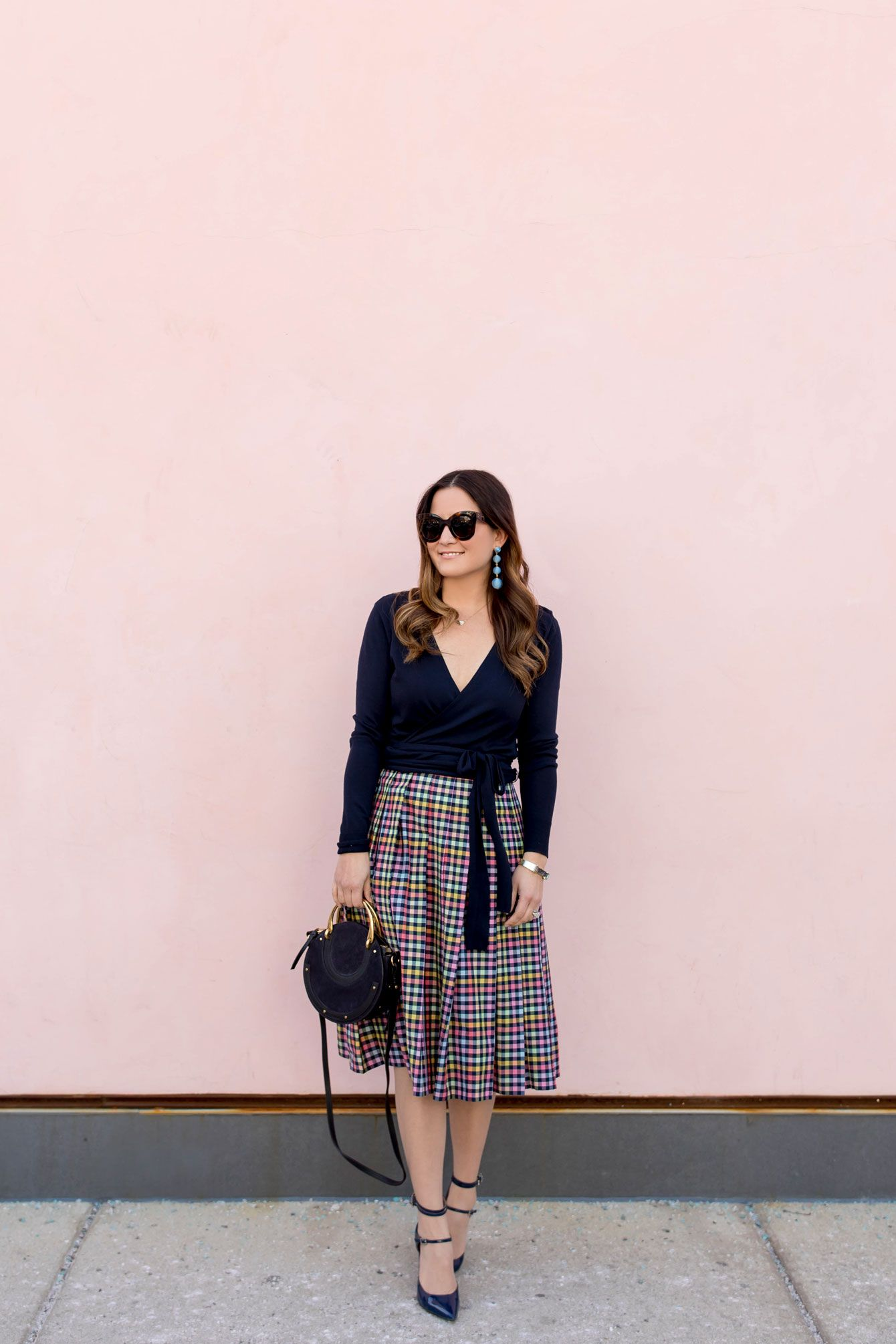 5a8dbf308 Navy Check Pleated Midi Skirt | Modest Fashion | Pleated skirt ...