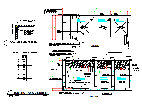 Here The Septic Tank Detail Design Drawing With Plan Design Drawing And Plan Design Drawing Section Design Dr In 2020 Septic Tank Septic Tank Design Diy Septic System
