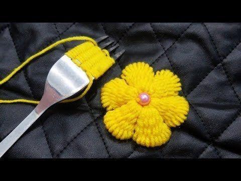 Handstickerei Amazing Trick, Wow Easy gelbe Blume Stickerei Trick mit Gabel, …
