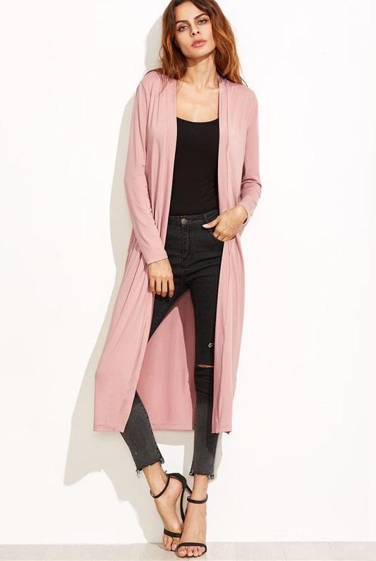 Ladies/' Women/'s Long Sleeve Longline Crepe Open Cardigan Long Top PLUS SIZE
