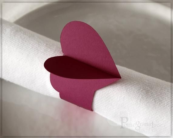 Pink Heart Paper Napkin Rings, Party Decorations Valentine's Day Set of 4 Wedding Decor Romantic Table Decor Flamingo Pink Napkin Rings HT11 #papernapkins