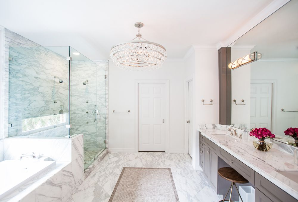 5)bright-airy-bath-marble-chandelier | Bathrooms | Pinterest ...