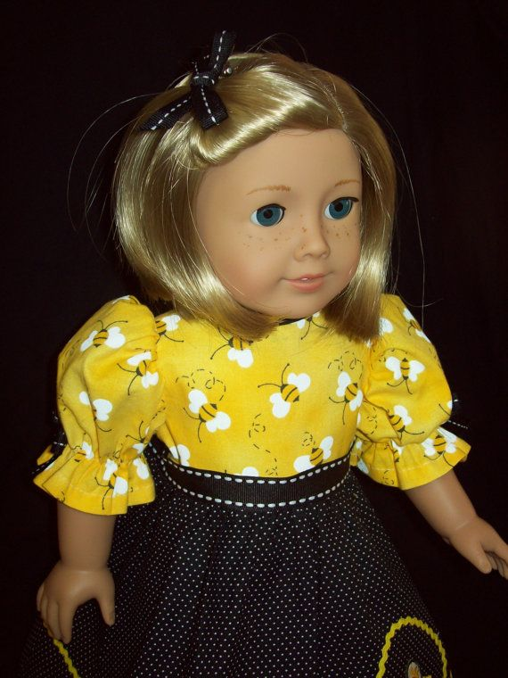 Honey Bee dress fits 18 inch doll or American Girl by ASewSewShop, $14.99