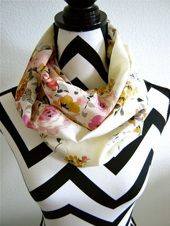 100 Silk Rose Scatter Infinity Scarf by SewBirdiful on Etsy, $22.99