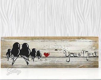 Rustic Wood Signs Reclaimed Wood Art Wood Sign Love Sign Love Bird Painting Wood 5th Anniversary Gift Wedding Gift for Couple Bird on a Wire #woodsigns