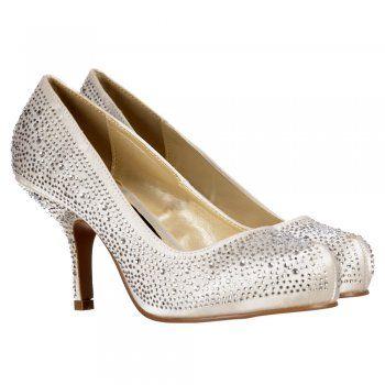 2b3f69e3e7c Onlineshoe Women s Low Kitten Heel Bridal Wedding Shoes Classic Court  Diamante Crystal Satin Bridal Pump Bridal
