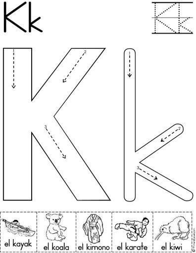 letra k fichas del abecedario y el alfabeto para descargar