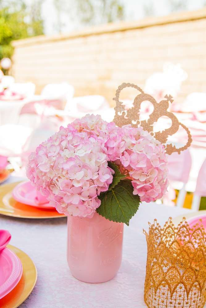 Pink And Gold Birthday Party Ideas Photo 10 Of 30 Pink And Gold Birthday Party Gold Birthday Party Baby Shower Princess