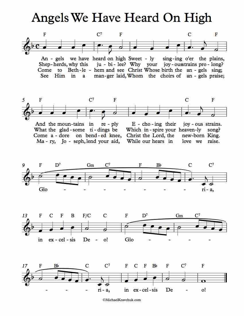 Free Lead Sheet Angels We Have Heard On High | Christmas