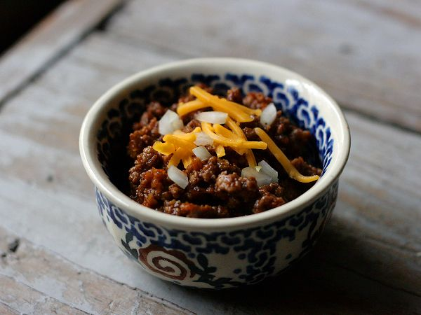 Chili with no beans... good for garnish like fries, hot dogs, etc...