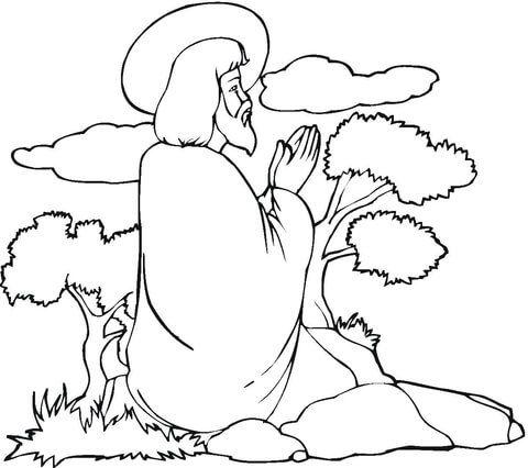 Jesus Praying Coloring page Sunday School things
