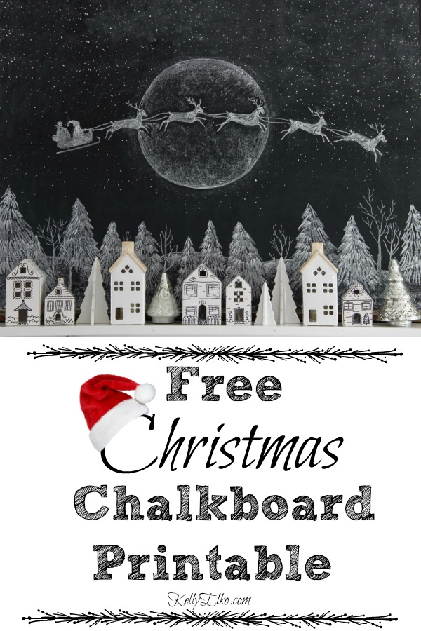 I love this free Christmas chalkboard printable of Santa and reindeer flying over a village of houses kellyelko.com #chalkboard #chalkboardart #chalkart #freeprintables #printables #freeart #art #santa #christmas #christmasart #christmasprintable #christmasdecor #christmasdecorating