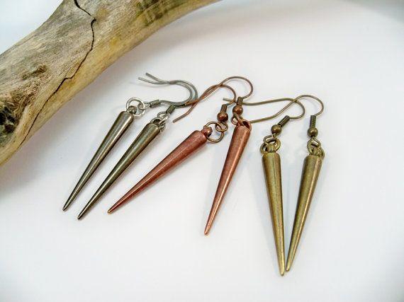 Spike Earrings Long Earrings Copper Jewelry Bronze by babbleon