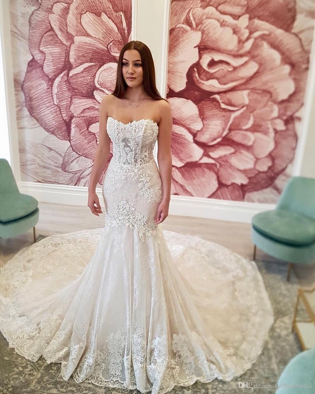 Ivory Lace Bodice Ball Gown Wedding Dress With Sheer Long: Sleeveless Ivory Lace Mermaid Wedding Dresses Sheer Bodice