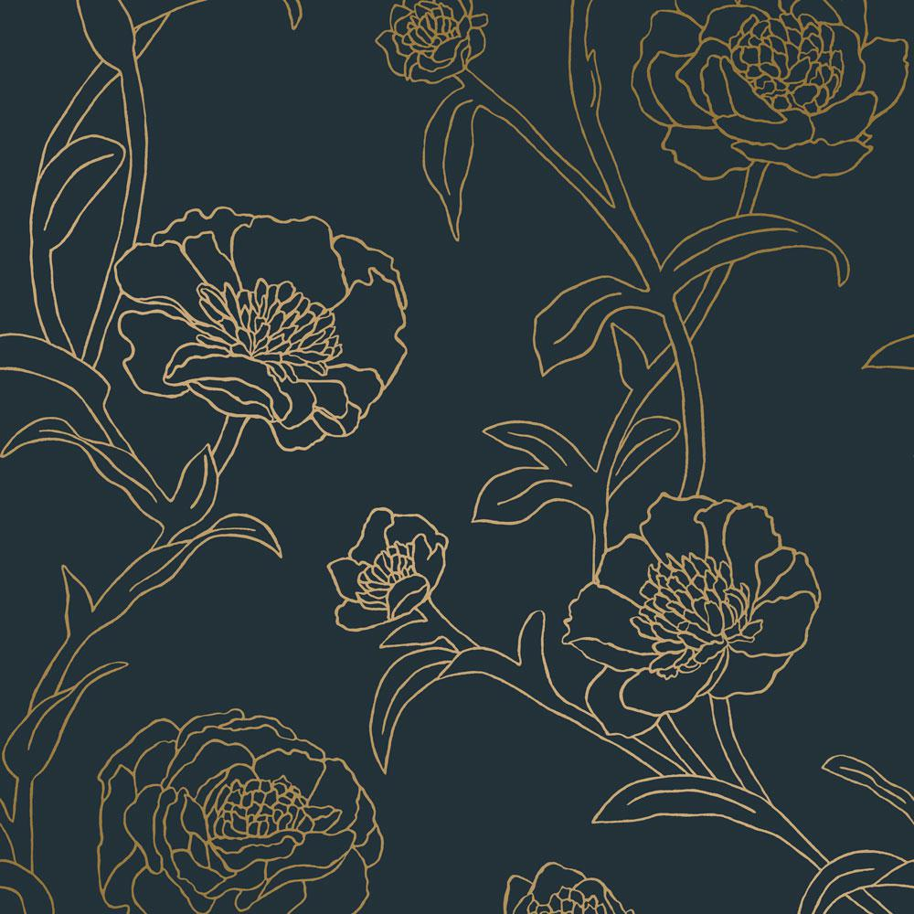 Tempaper Peonies Peacock Blue Metallic Gold Vinyl Peelable Roll Covers 28 Sq Ft Pe10633 The Home Depot Peelable Wallpaper Removable Wallpaper Gold Vinyl