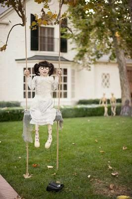 Creepy doll on swing